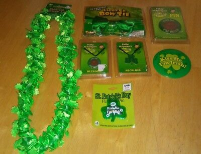 New Lot of 7 St Patricks Day Irish Party Favors Green Pins Lei Bow Tie Necklaces