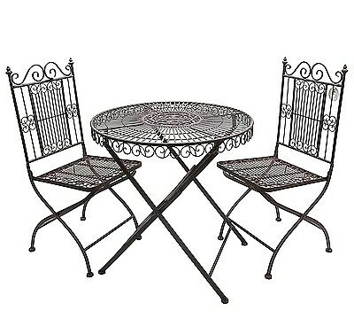 STYLE ANCIENNE TABLE chaise de jardin marron pliable pliante en fer metal