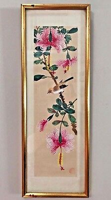Vintage Framed Signed Japanese Painting on Silk - Bird & Dragon Flowers