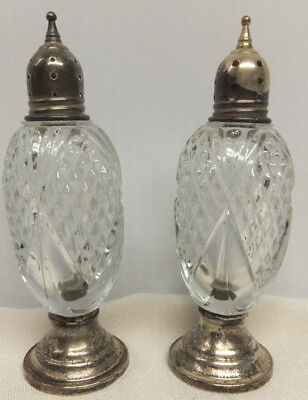 ELEGANT Antique Cut Crystal Salt & Pepper Shakers Sterling Silver top & bottom