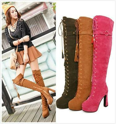 Hot Sale Womens Buckle Lace Up Gladiator Over Knee Winter Thigh High Boot Shoes
