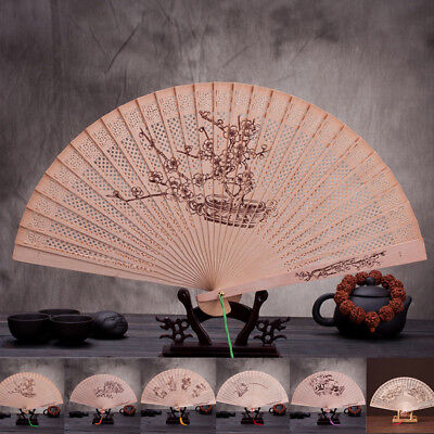 Wedding Hand Fragrant Party Carved Bamboo Folding Fan Chinese Style Wooden AU