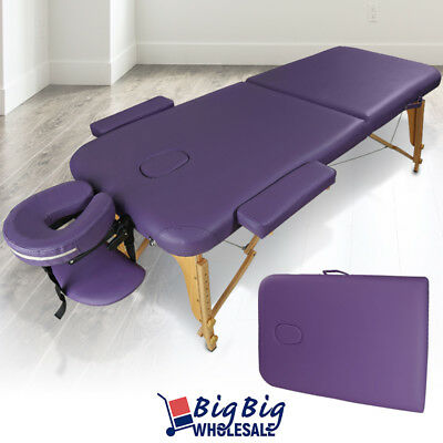 Portable Foldable Massage Table Bed SPA Facial Salon Tattoo Carry Case Purple