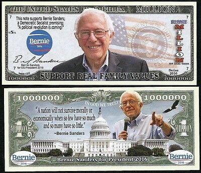 Lot of 100 Bills-BERNIE SANDERS FOR PRESIDENT MILLION DOLLAR BILL