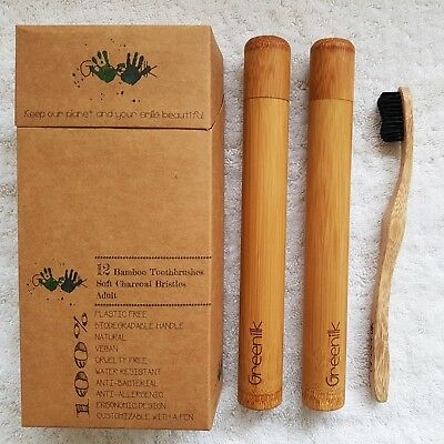 12 Pack Bamboo Toothbrushes Adult, Soft, Charcoal enhanced w/ 2 Cases - Greenilk