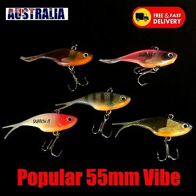 Soft Plastic Vibe Freshwater Fishing Lures Redfin Bass Bream Trout Flathead