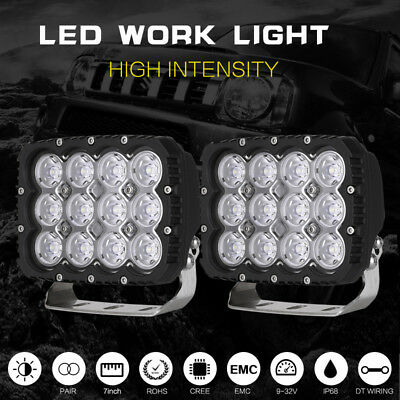 2X 7inch Square LED Driving Light Bar Spot Work Spotlight Offroad Boat Truck SUV