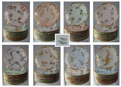 8pc Antq Hand Painted H&Co Limoges France B&B plates flower of the month