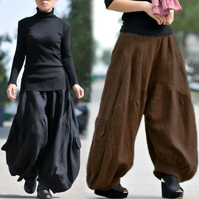 Women Retro Wide Leg Pants Culottes Plain Solid Plus Size Cotton Harem Trousers