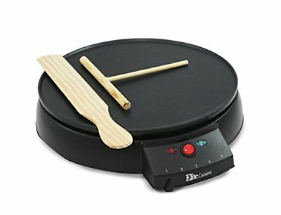 Elite Cuisine ECP-126 Electric Crepe Maker and Non-stick Griddle with Spreader,