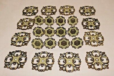12 Vintage JB JayBee French Provincial Cabinet Knobs Backplates Brown Sage Green