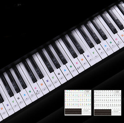 Keyboard Piano Multicolor Removable Piano and Keyboard Stickers for 49 61 76 88-