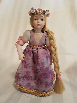 """1986 AVON RAPUNZEL Fairy Tale Rapunzel Porcelain 7"""" Collectible Doll with Stand"""