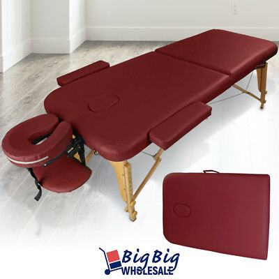 Portable Foldable Massage Table Bed SPA Facial Salon Tattoo Carry Case Burgundy