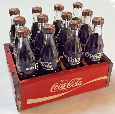 Vintage Miniature Case 12 Coca-Cola Bottles in Red Wooden Crate