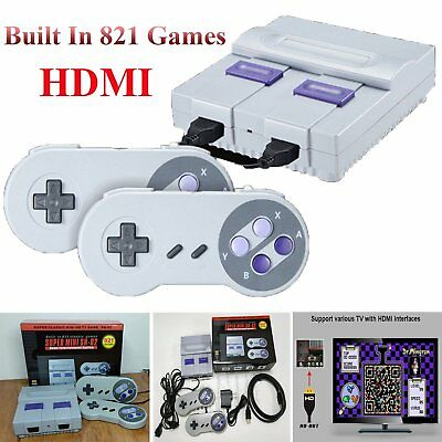 Super Mini HDMI 8-bit Retro Game Console Built-in 821 Games + 2 x Controller Pad
