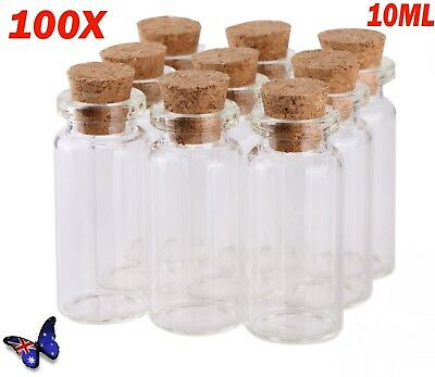 100X 10ml Clear Glass Bottle Wishing Vials Storage Container with Cork Stopper