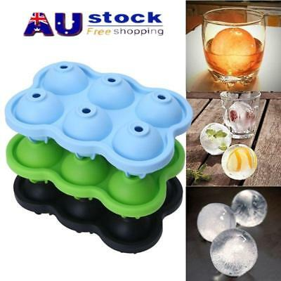 6-Ball Whiskey Ice Cube Ball Maker Silicone Mold Sphere Mould Round Tray Bar AU!