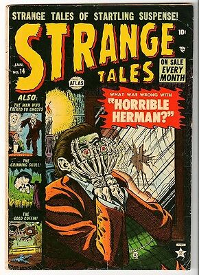 MARVEL STRANGE TALES VG- 14  3.5  KIRBY DITKO GOLDEN AGE HORRIBLE HERMAN atlas