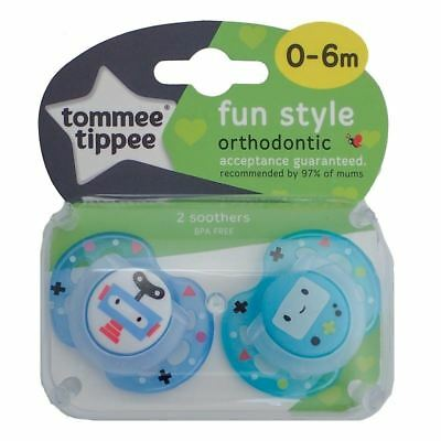 Tommee Tippee Fun Style Soother 0-6m Blue / Light Blue Robots 1 2 3 6 12 Packs