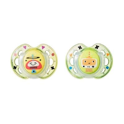 Tommee Tippee Fun Style Soothers 0-6m Yellow/Green Robots 1 2 3 6 12 Packs
