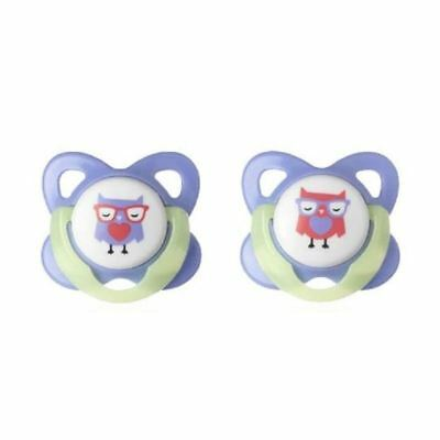 Tommee Tippee Essentials Glow In The Dark Soothers 6-12m - Owl 1 2 3 6 12 Cases