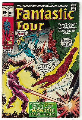 Marvel Comics FANTASTIC FOUR Issue 105 The Monster Stalks The Streets! VG+