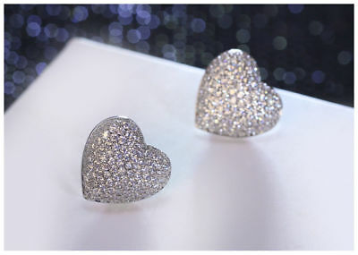 1.50Ct Round Cut Diamond Heart Shape Cluster Stud Earrings 14K White Gold Finish