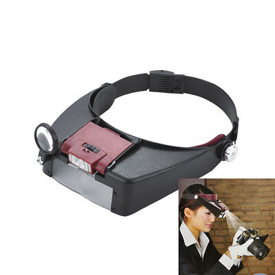 Magnifying Glass Lens LED Headlight Head Loupe Jeweler Watch Headband Magnifier