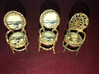 Vintage Miniature Gilt Metal Trio Of Topographical Dolls House Chairs Southend