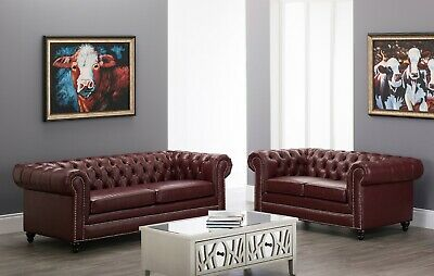 New Chesterfield Faux Leather Sofa Settee Ox Blood Red 3, 2 Seater Vintage Couch