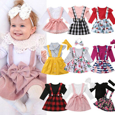 Newborn Toddler Baby Girls Striped Top Romper Skirt Headband Outfits Clothes UK