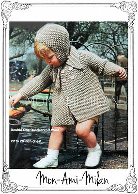 "Vintage Knitting Pattern BABIES BABY TODDLERS CHILDS COAT HAT & HELMET 22""-26"""