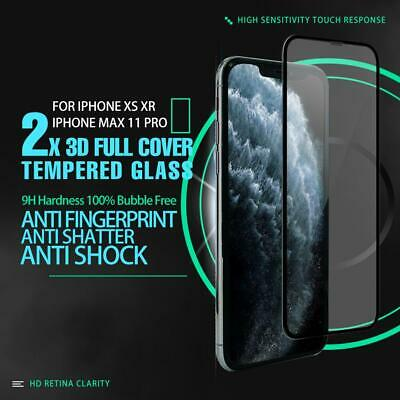 2x 3D Full Curved Edge Tempered Glass Screen Protector For iPhone X XS XR XsMax