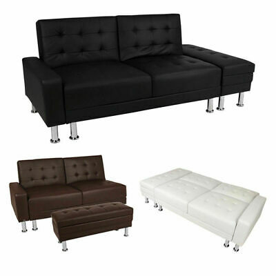 Faux Leather 3 Seater Sofa Bed With Ottoman Storage Stool Sofabed 3 Colours Wido