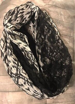 Black And White Aztec Lace Infinity Scarf