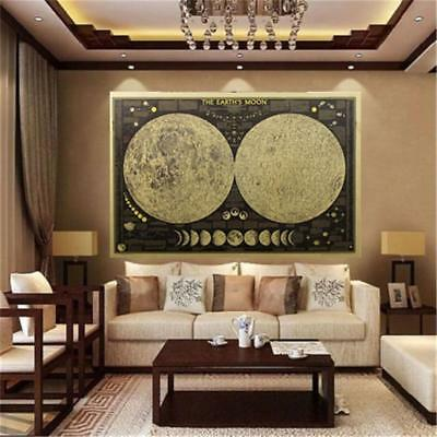 Vintage Earth's Moon World Map Poster Wall Chart Home Decor For Living Bedroom