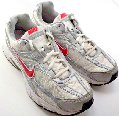 52d7f40d28c Nike Initiator Womens 10M Silver w Pink Swoosh Running Shoes BRS 1000 Soles  VGC!