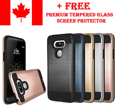 Slim Shockproof Armor Brushed Dual Layer Protect Cover Case For LG G6 G7