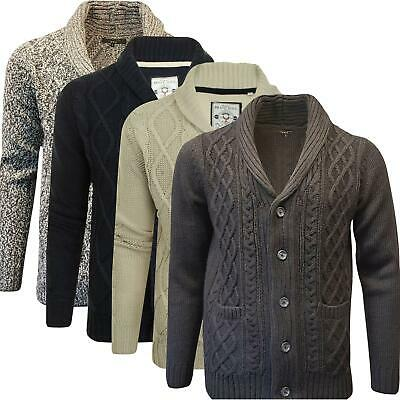 Mens Ex-Highstreet Button Up Cable Knit Cardigan Weave Chunky Jumper Shawl Neck