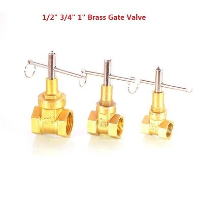 "With Lock Brass Gate Valve Water Valve 1/2"" 3/4"" 1"" BSP Female Thread + Key"