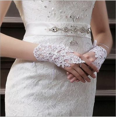 Party Fingerless Lace Short Crystal/Rhinestone Bridal Wedding Gloves-White Color