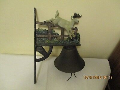Vintage Cast Iron Wall Mount Colorful Dinner Bell Deer Buck Jumping Over Fence