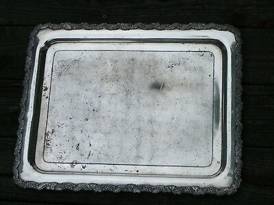 "Antique 1890s 20"" x 15 3/4"" Silverplate Tray-Scroll Border-Barbour Silver"