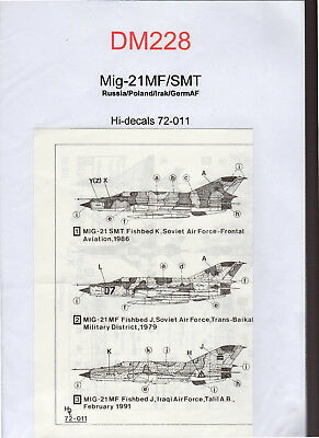 Decal -  Mig-21MF/SMT - Hi-decals 72-011 - ( Ref DM228)