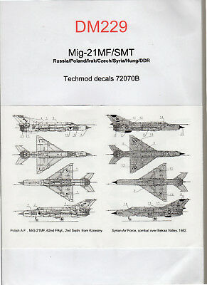 Decal -  Mig-21MF/SMT - Techmod decals 72070B - ( Ref DM229)