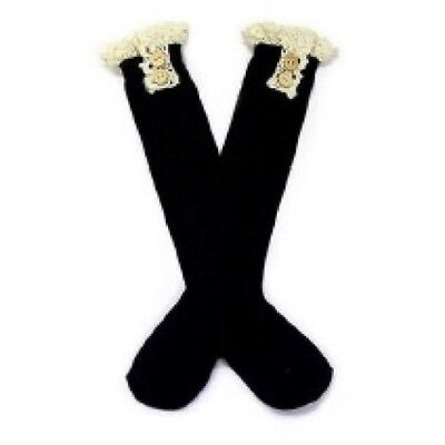 Kids Black Knee High Socks with Lace Design Ages 5-10