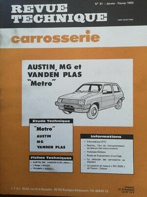 AUSTIN MG VANDEN PLAS METRO Revue technique CARROSSERIE RTA 81 1983 ACCLAIM