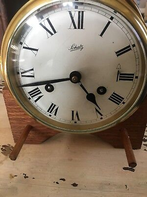 Vintage Nautical Large Schatz Brass Ship's Bell Marine Deck Clock W/ Hinged Lid
