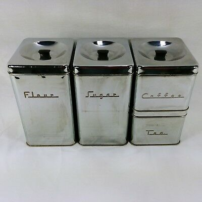 vintage metal kitchen canisters chrome silver atomic art deco rh picclick com Glass Canisters Vintage Kitchen Vintage Tin Kitchen Canisters Universal Products Cattail